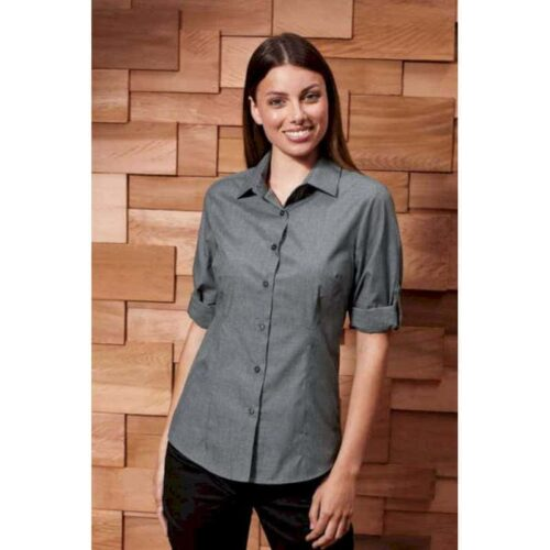 LADIES' POPLIN CROSS-DYE ROLL SLEEVE SHIRT